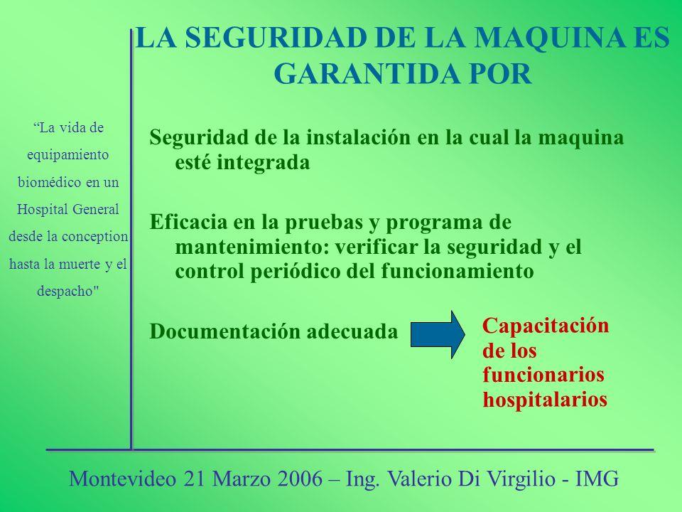 LA SEGURIDAD DE LA MAQUINA ES GARANTIDA POR Seguridad de la instalación en la cual la maquina esté integrada Eficacia en la pruebas y programa de mant