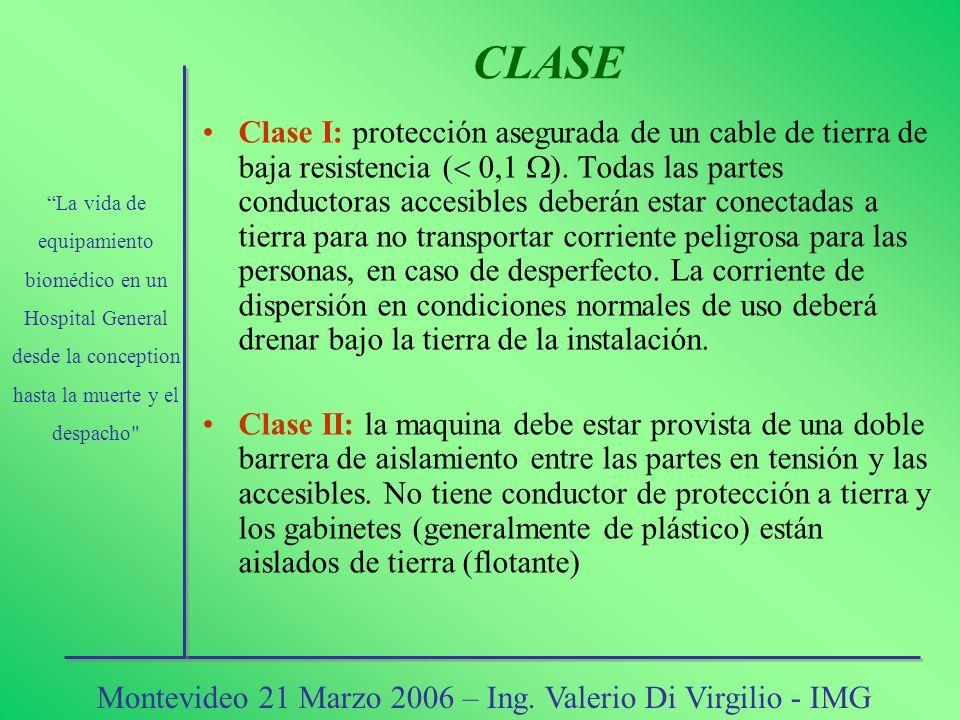 Clase I: protección asegurada de un cable de tierra de baja resistencia ( 0,1 ). Todas las partes conductoras accesibles deberán estar conectadas a ti