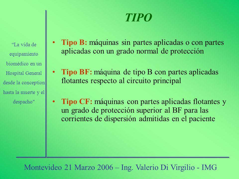 Tipo B: máquinas sin partes aplicadas o con partes aplicadas con un grado normal de protección Tipo BF: máquina de tipo B con partes aplicadas flotant