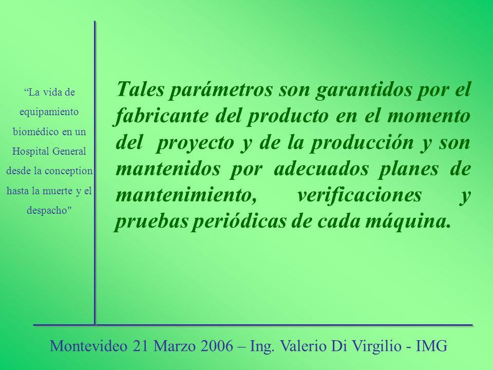 Tales parámetros son garantidos por el fabricante del producto en el momento del proyecto y de la producción y son mantenidos por adecuados planes de