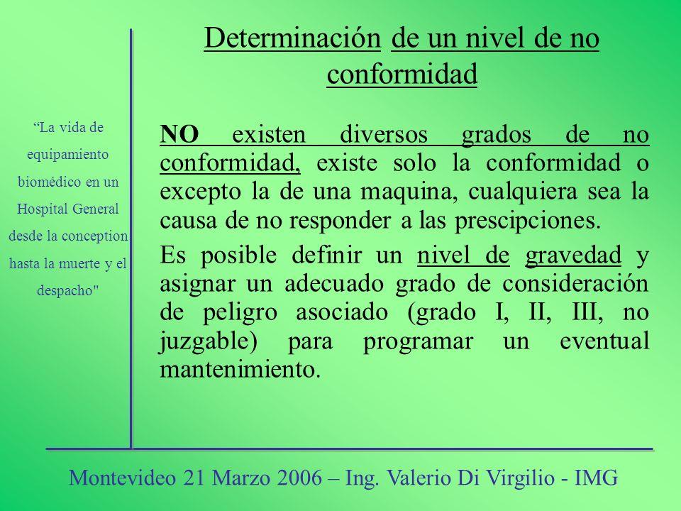 Determinación de un nivel de no conformidad NO existen diversos grados de no conformidad, existe solo la conformidad o excepto la de una maquina, cual