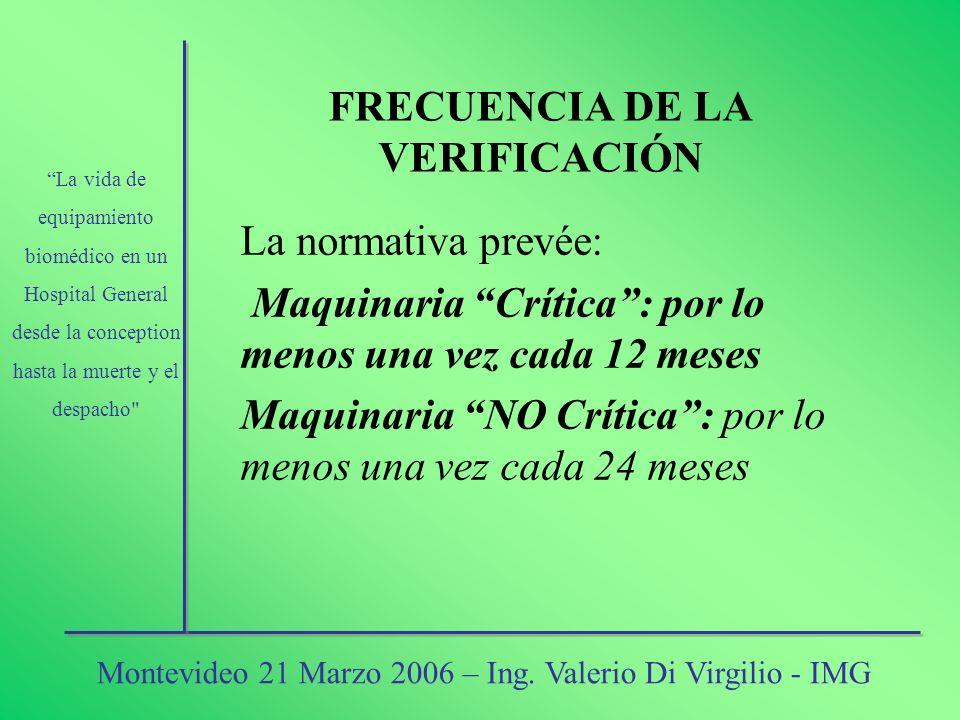 FRECUENCIA DE LA VERIFICACIÓN La normativa prevée: Maquinaria Crítica: por lo menos una vez cada 12 meses Maquinaria NO Crítica: por lo menos una vez