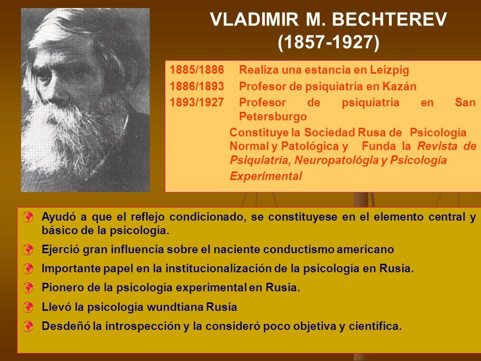 VLADIMIR M. BECHTEREV (1857-1927) 1885/1886 Realiza una estancia en Leizpig 1886/1893 Profesor de psiquiatría en Kazán 1893/1927 Profesor de psiquiatr