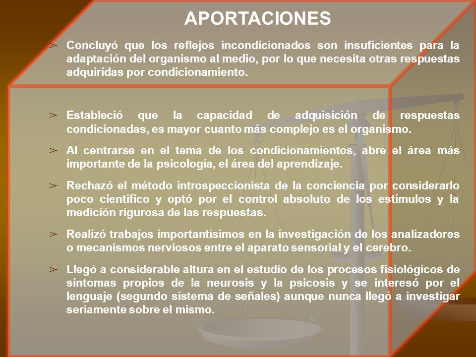 APORTACIONES â Concluyó que los reflejos incondicionados son insuficientes para la adaptación del organismo al medio, por lo que necesita otras respue