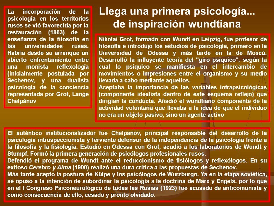 Llega una primera psicología... de inspiración wundtiana La incorporación de la psicología en los territorios rusos se vió favorecida por la restaurac