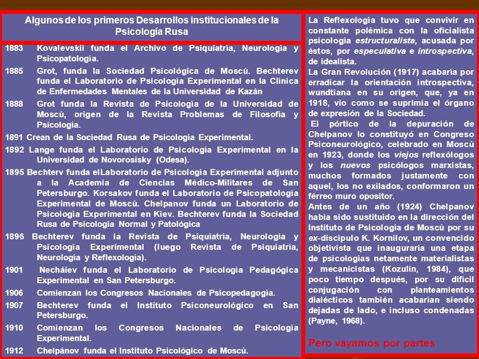 1883Kovalevskii funda el Archivo de Psiquiatría, Neurología y Psicopatología. 1885Grot, funda la Sociedad Psicológica de Moscú. Bechterev funda el Lab