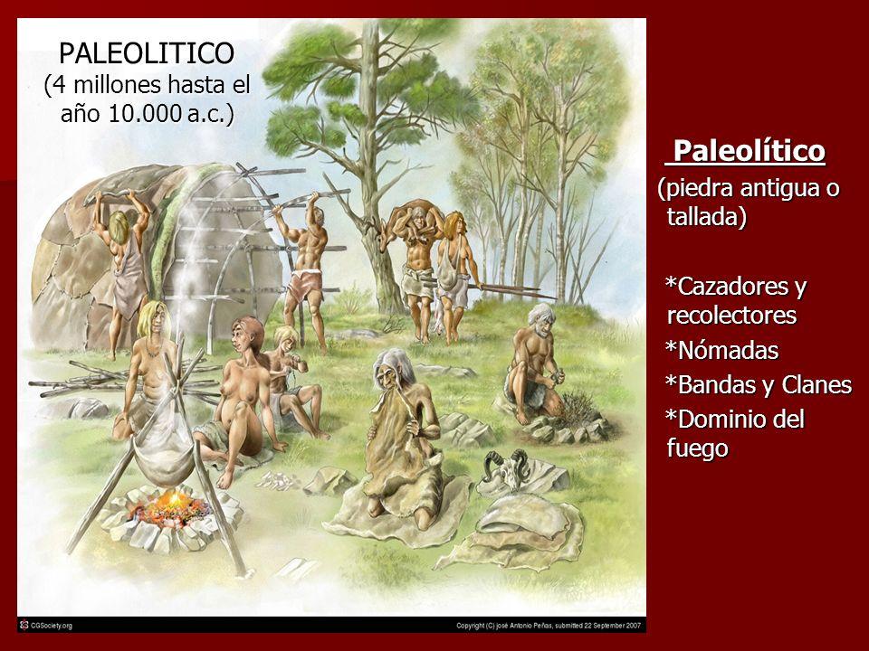PALEOLITICO (4 millones hasta el año 10.000 a.c.) Paleolítico Paleolítico (piedra antigua o tallada) (piedra antigua o tallada) *Cazadores y recolectores *Cazadores y recolectores *Nómadas *Nómadas *Bandas y Clanes *Bandas y Clanes *Dominio del fuego *Dominio del fuego