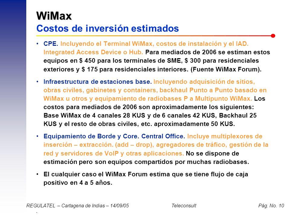 . REGULATEL – Cartagena de Indias – 14/09/05 Teleconsult Pág. No. 10 WiMax WiMax Costos de inversión estimados CPE. Incluyendo el Terminal WiMax, cost