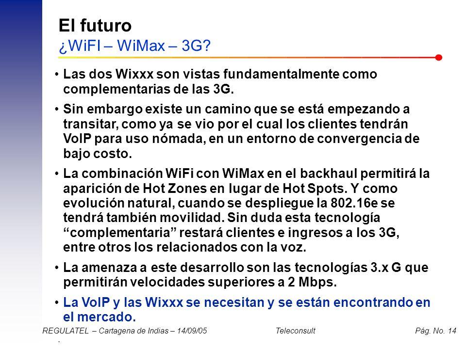 . REGULATEL – Cartagena de Indias – 14/09/05 Teleconsult Pág. No. 14 El futuro ¿WiFI – WiMax – 3G? Las dos Wixxx son vistas fundamentalmente como comp