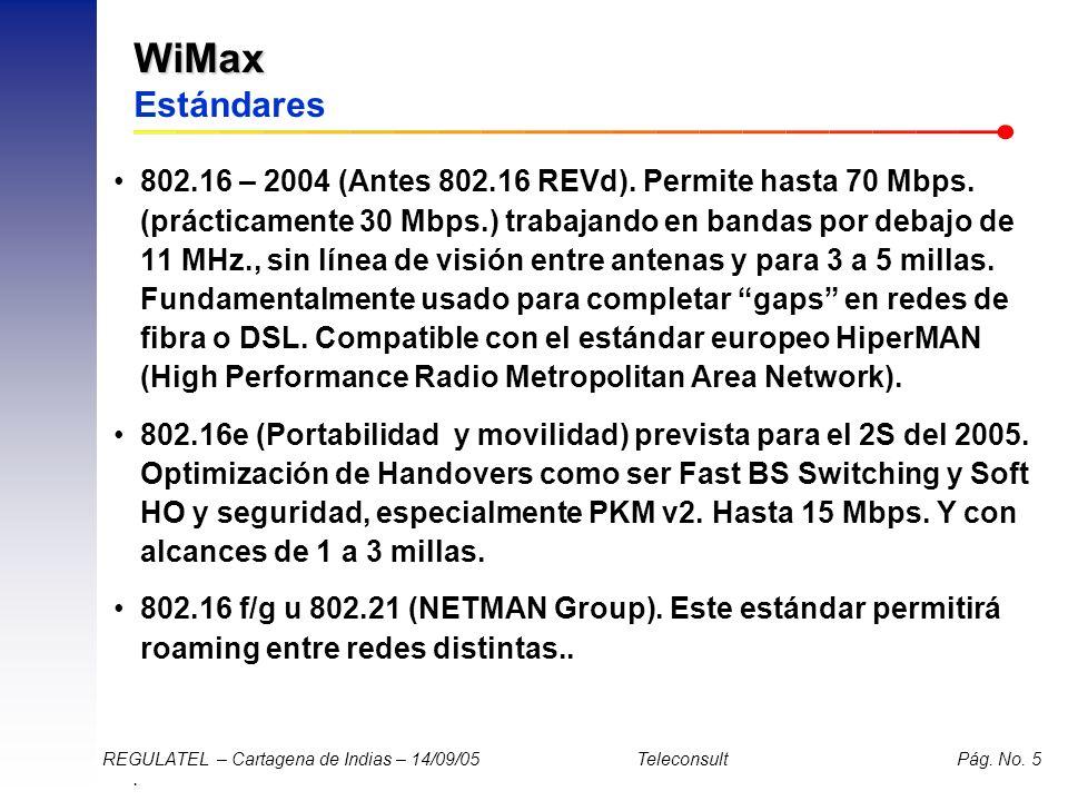 . REGULATEL – Cartagena de Indias – 14/09/05 Teleconsult Pág. No. 5 WiMax WiMax Estándares 802.16 – 2004 (Antes 802.16 REVd). Permite hasta 70 Mbps. (