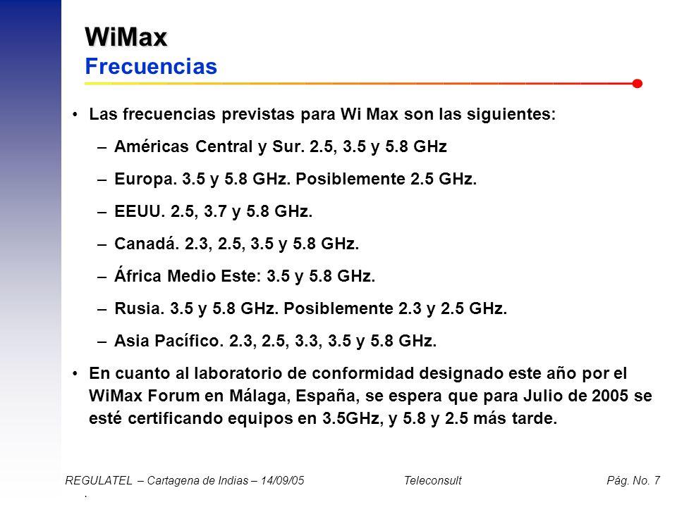 . REGULATEL – Cartagena de Indias – 14/09/05 Teleconsult Pág. No. 7 WiMax WiMax Frecuencias Las frecuencias previstas para Wi Max son las siguientes: