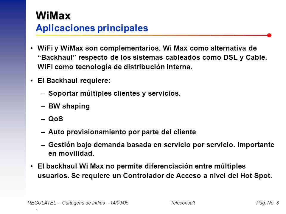 . REGULATEL – Cartagena de Indias – 14/09/05 Teleconsult Pág. No. 8 WiMax WiMax Aplicaciones principales WiFi y WiMax son complementarios. Wi Max como