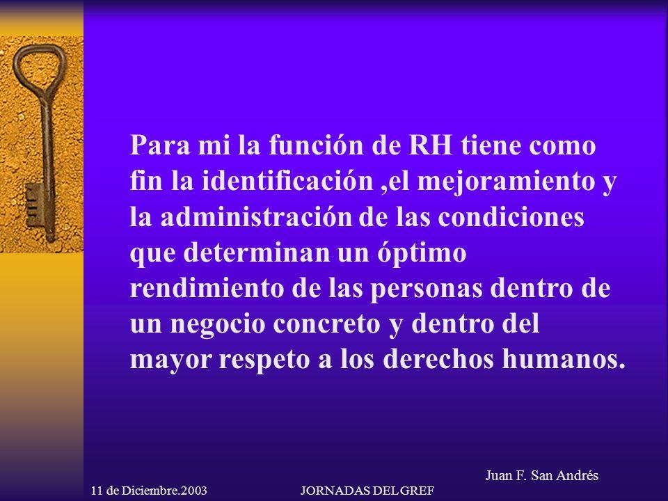 Juan F. San Andrés 11 de Diciembre.2003JORNADAS DEL GREF Para mi la función de RH tiene como fin la identificación,el mejoramiento y la administración