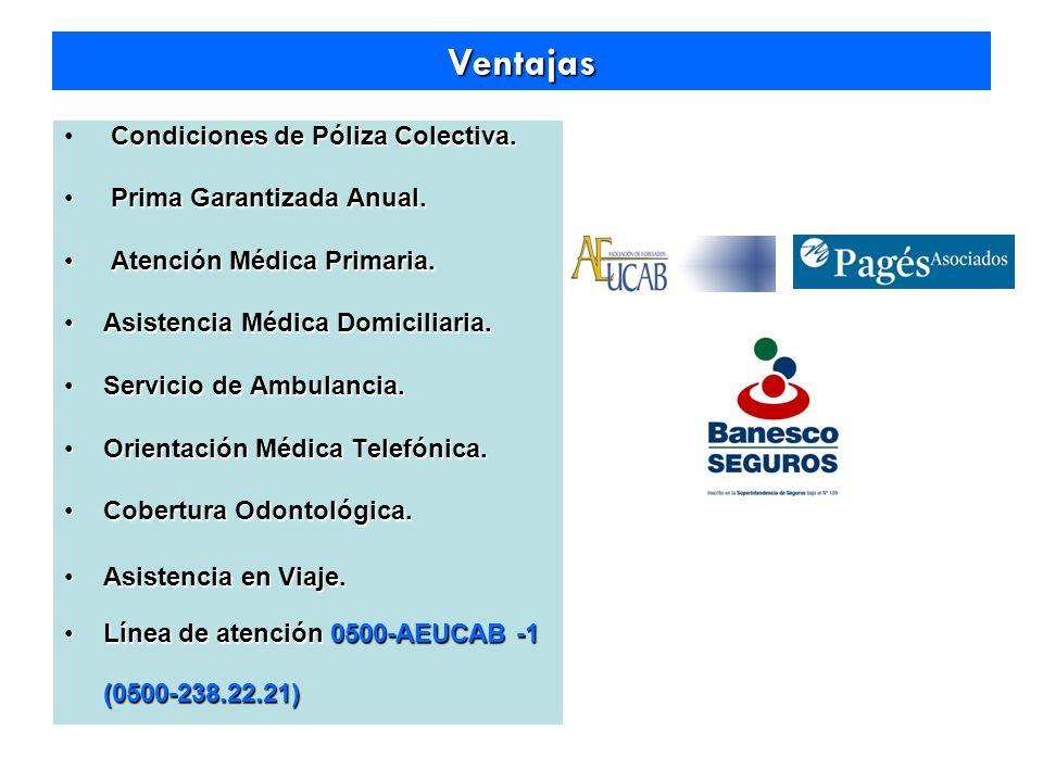 Ventajas Condiciones de Póliza Colectiva. Prima Garantizada Anual.