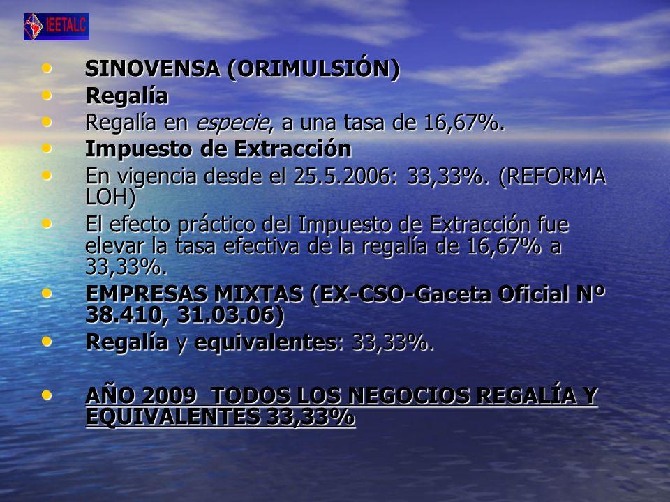SINOVENSA (ORIMULSIÓN) SINOVENSA (ORIMULSIÓN) Regalía Regalía Regalía en especie, a una tasa de 16,67%.
