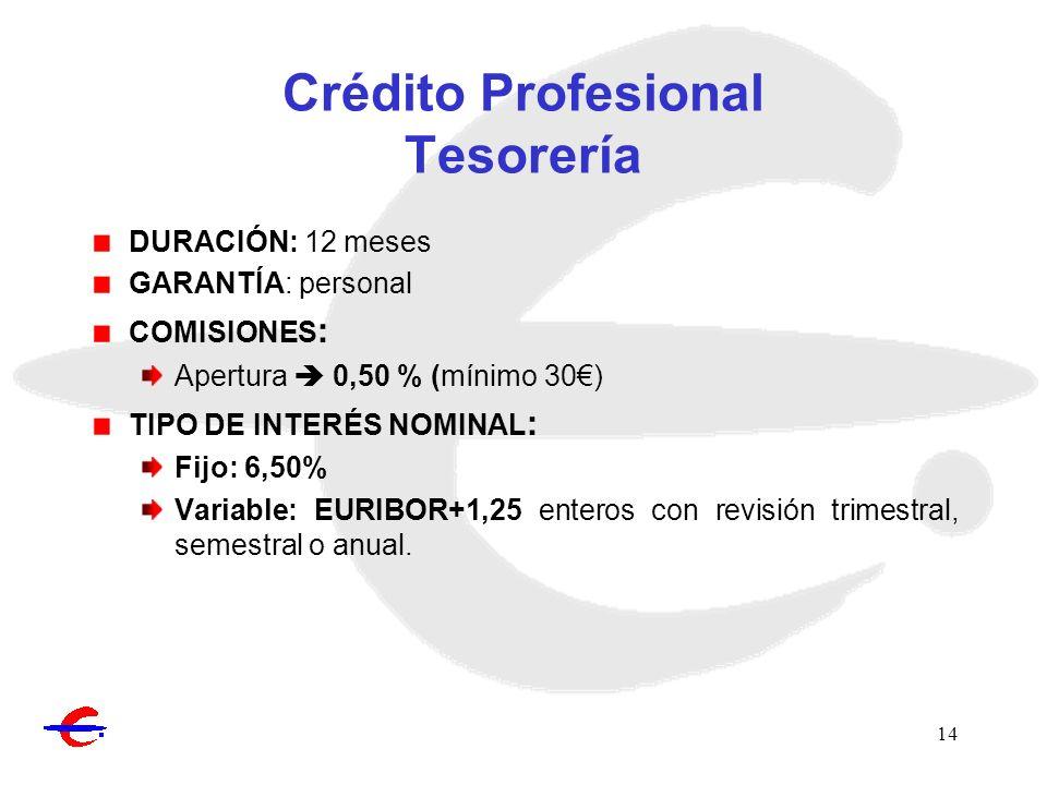 14 Crédito Profesional Tesorería DURACIÓN: 12 meses GARANTÍA: personal COMISIONES : Apertura 0,50 % (mínimo 30) TIPO DE INTERÉS NOMINAL : Fijo: 6,50%