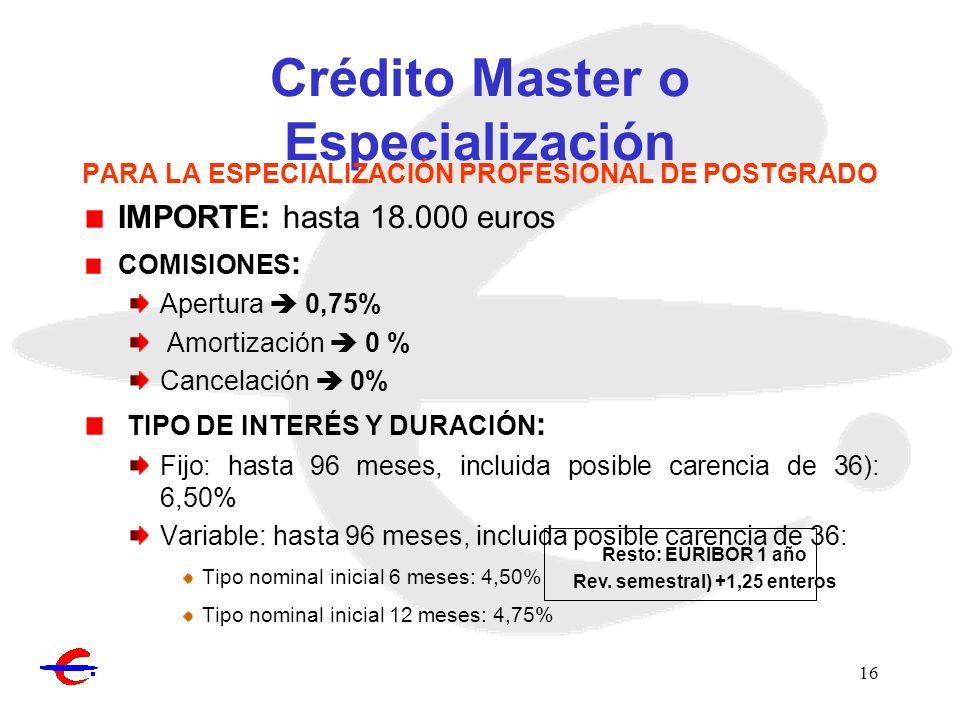 16 Crédito Master o Especialización PARA LA ESPECIALIZACIÓN PROFESIONAL DE POSTGRADO IMPORTE: hasta 18.000 euros COMISIONES : Apertura 0,75% Amortizac