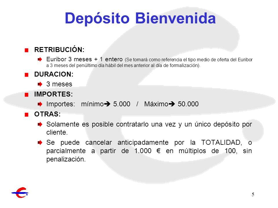 6 Depósito Bonificado* RETRIBUCIÓN: 4,25 TAE – Hasta el 5% TAE por incremento de aportaciones netas a Fondos de Inversión, Planes de Pensiones Individuales o pagos en comercios con tarjetas Ibercaja.