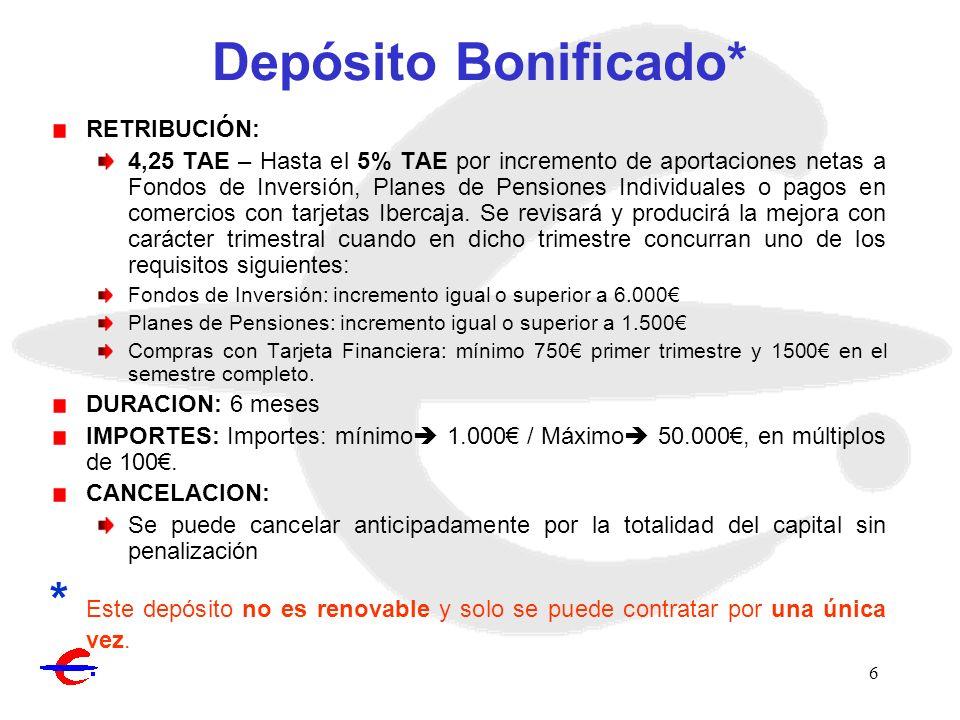 6 Depósito Bonificado* RETRIBUCIÓN: 4,25 TAE – Hasta el 5% TAE por incremento de aportaciones netas a Fondos de Inversión, Planes de Pensiones Individ