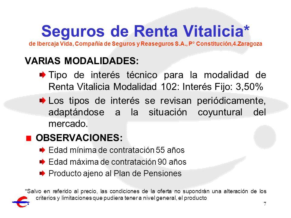 8 Seguro Ibervida 3 de Ibercaja Vida, Compañía de Seguros y Reaseguros S.A., Pº Constitución,4.