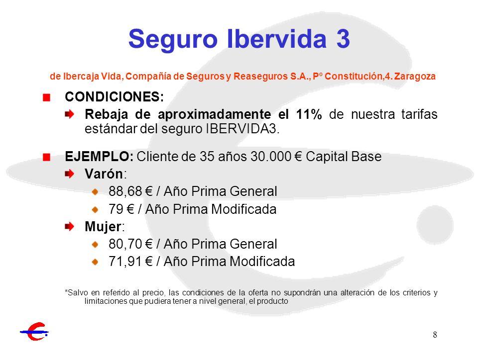 8 Seguro Ibervida 3 de Ibercaja Vida, Compañía de Seguros y Reaseguros S.A., Pº Constitución,4. Zaragoza CONDICIONES: Rebaja de aproximadamente el 11%