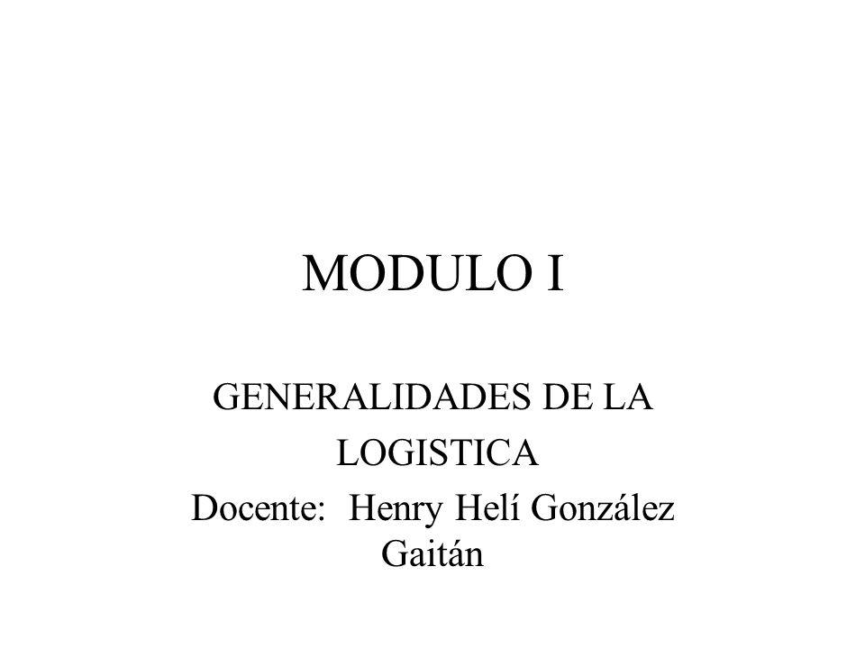 MODULO I GENERALIDADES DE LA LOGISTICA Docente: Henry Helí González Gaitán