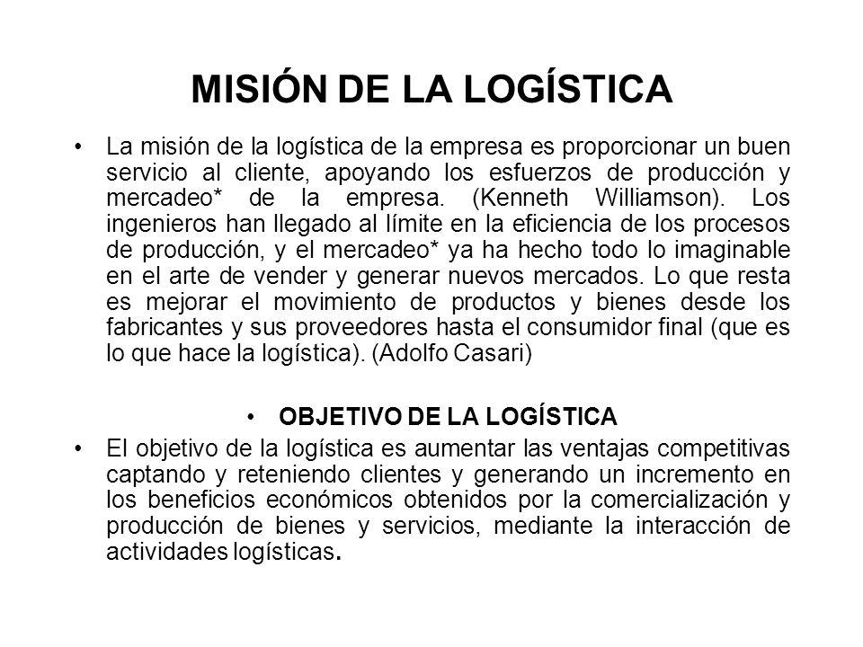 MISIÓN DE LA LOGÍSTICA La misión de la logística de la empresa es proporcionar un buen servicio al cliente, apoyando los esfuerzos de producción y mer