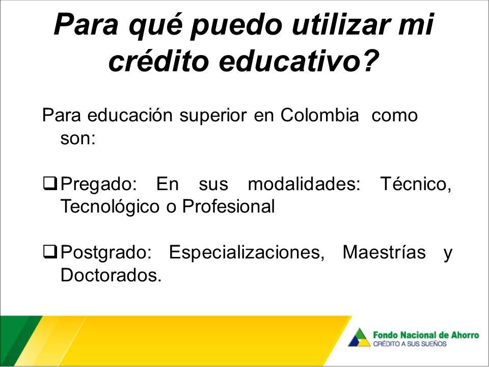 Para qué puedo utilizar mi crédito educativo.