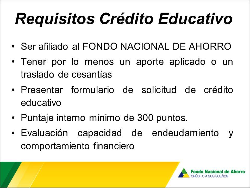 Requisitos Crédito Educativo Ser afiliado al FONDO NACIONAL DE AHORRO Tener por lo menos un aporte aplicado o un traslado de cesantías Presentar formulario de solicitud de crédito educativo Puntaje interno mínimo de 300 puntos.