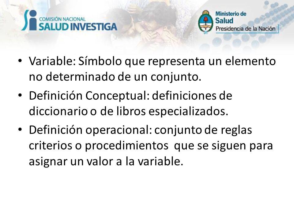 Variable: Símbolo que representa un elemento no determinado de un conjunto. Definición Conceptual: definiciones de diccionario o de libros especializa