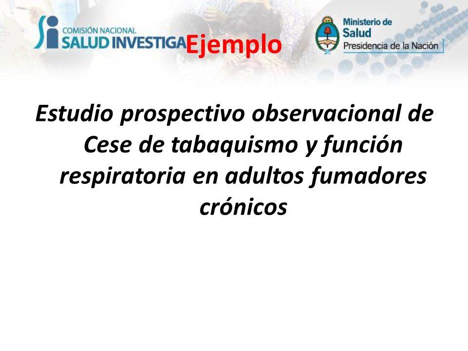 Estudio prospectivo observacional de Cese de tabaquismo y función respiratoria en adultos fumadores crónicos Ejemplo