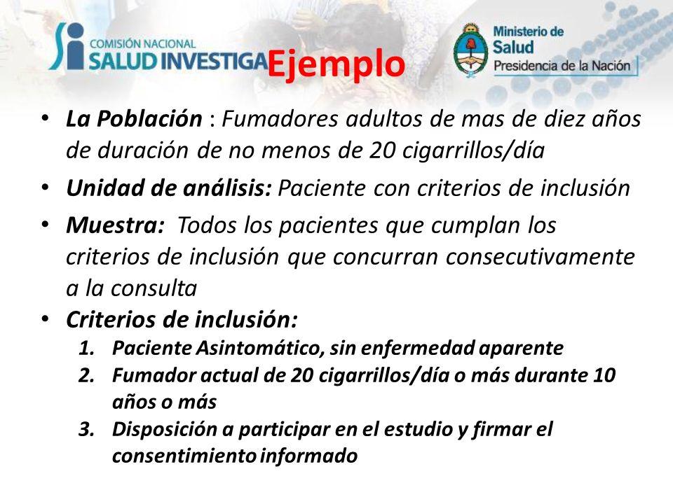 La Población : Fumadores adultos de mas de diez años de duración de no menos de 20 cigarrillos/día Unidad de análisis: Paciente con criterios de inclu