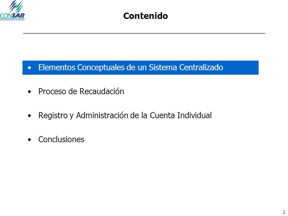 2 Contenido Elementos Conceptuales de un Sistema Centralizado Proceso de Recaudación Registro y Administración de la Cuenta Individual Conclusiones
