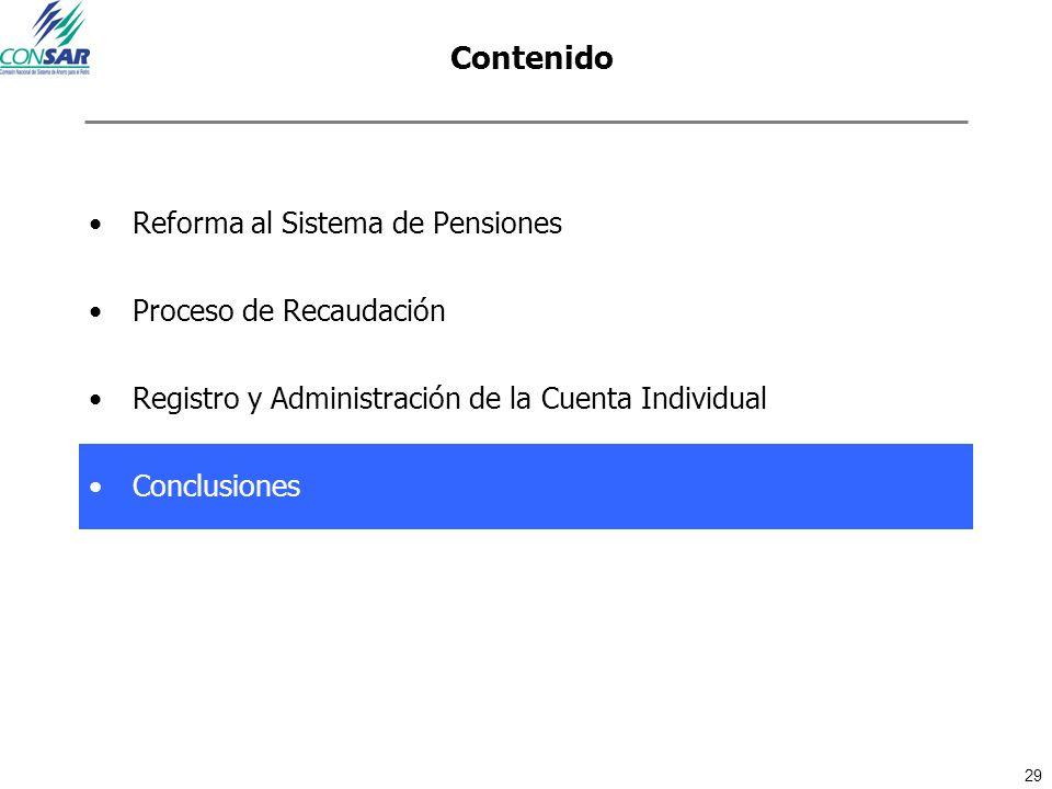 29 Contenido Reforma al Sistema de Pensiones Proceso de Recaudación Registro y Administración de la Cuenta Individual Conclusiones