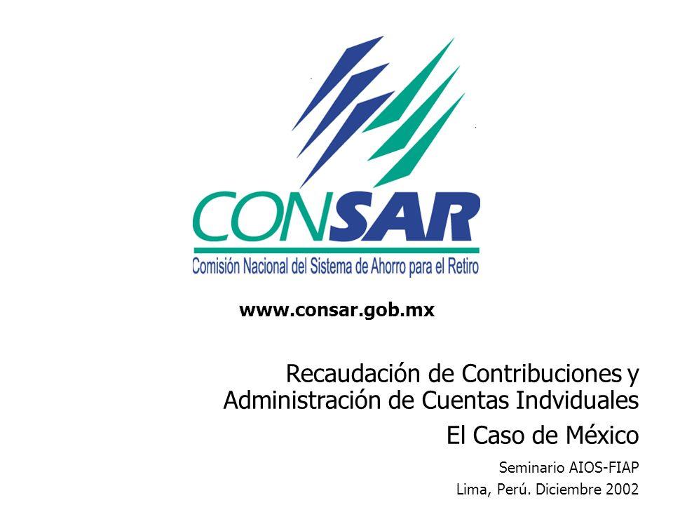 Recaudación de Contribuciones y Administración de Cuentas Indviduales El Caso de México Seminario AIOS-FIAP Lima, Perú. Diciembre 2002 www.consar.gob.
