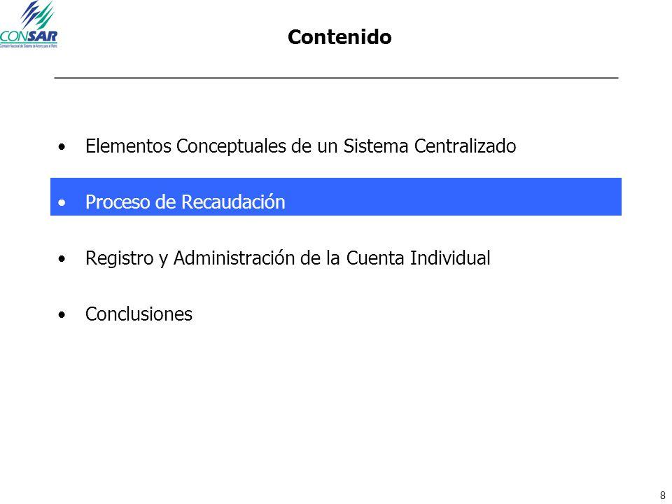 8 Contenido Elementos Conceptuales de un Sistema Centralizado Proceso de Recaudación Registro y Administración de la Cuenta Individual Conclusiones