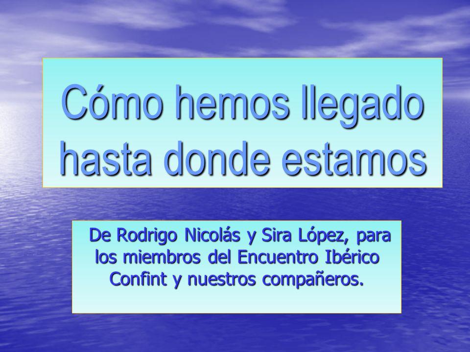 Cómo hemos llegado hasta donde estamos De Rodrigo Nicolás y Sira López, para los miembros del Encuentro Ibérico Confint y nuestros compañeros.