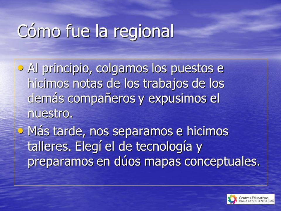 Cómo fue la regional Al principio, colgamos los puestos e hicimos notas de los trabajos de los demás compañeros y expusimos el nuestro.