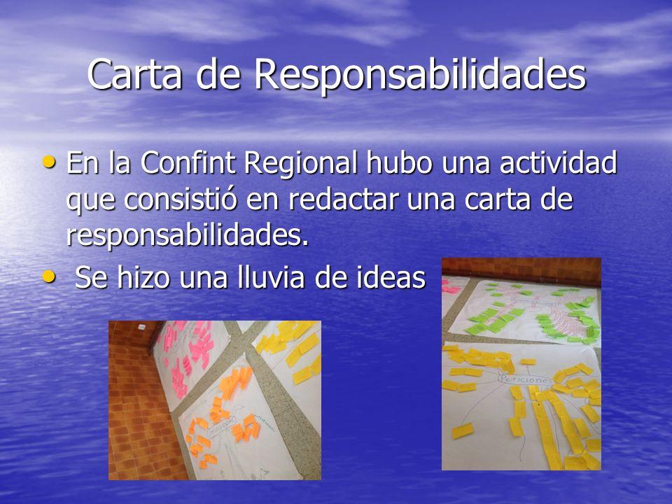 Carta de Responsabilidades En la Confint Regional hubo una actividad que consistió en redactar una carta de responsabilidades.
