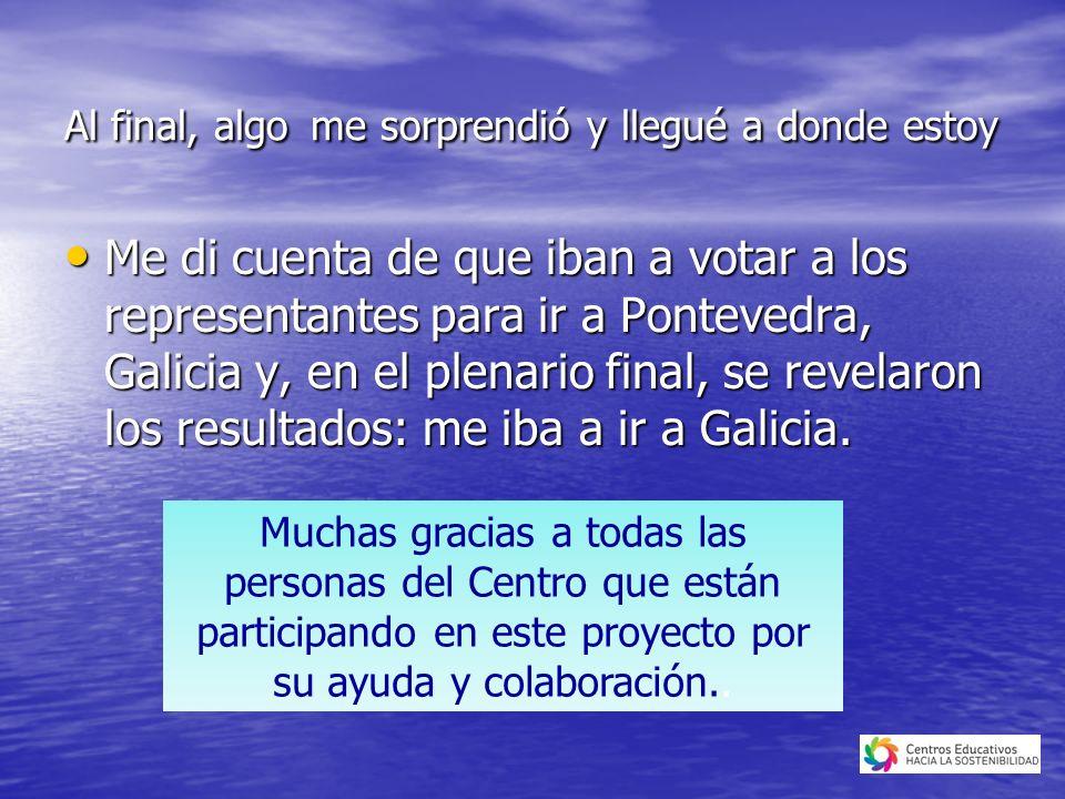 Al final, algo me sorprendió y llegué a donde estoy Me di cuenta de que iban a votar a los representantes para ir a Pontevedra, Galicia y, en el plenario final, se revelaron los resultados: me iba a ir a Galicia.