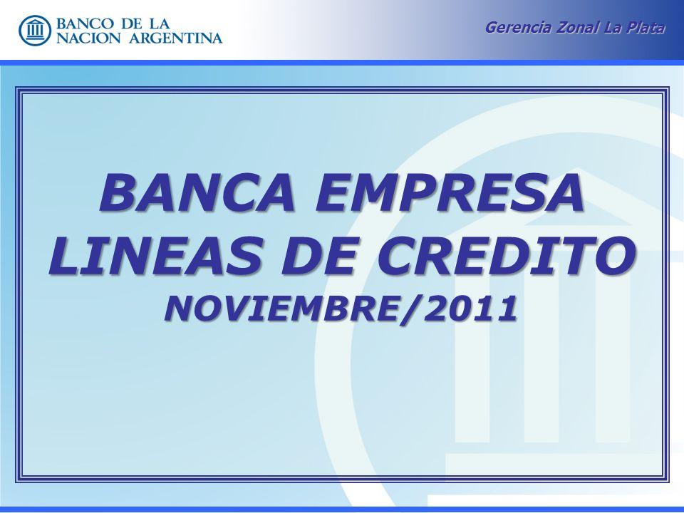 Gerencia Zonal La Plata BANCA EMPRESA LINEAS DE CREDITO NOVIEMBRE/2011