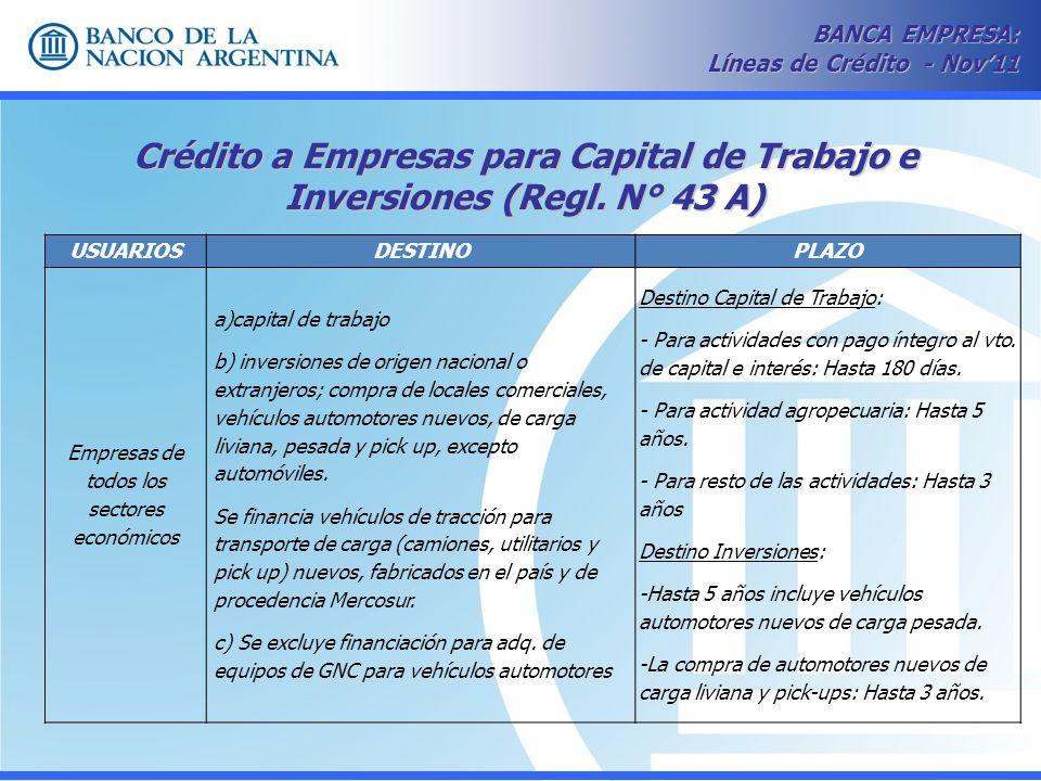 Crédito a Empresas para Capital de Trabajo e Inversiones (Regl. N° 43 A) BANCA EMPRESA: Líneas de Crédito - Nov11 USUARIOSDESTINOPLAZO Empresas de tod