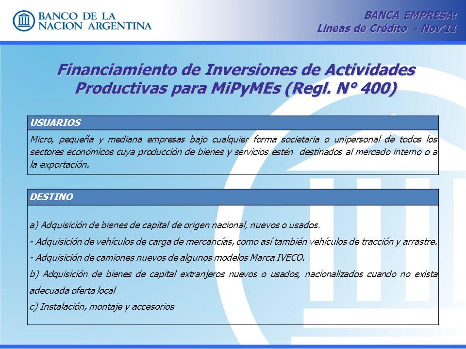 Financiamiento de Inversiones de Actividades Productivas para MiPyMEs (Regl. N° 400) BANCA EMPRESA: Líneas de Crédito - Nov11 USUARIOS Micro, pequeña
