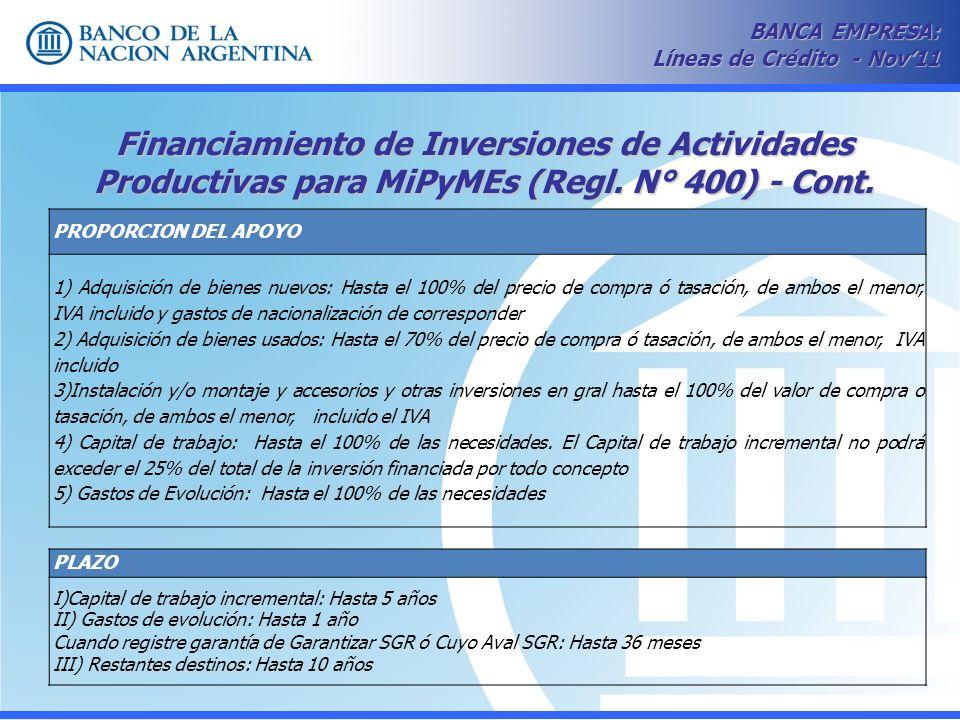 Financiamiento de Inversiones de Actividades Productivas para MiPyMEs (Regl. N° 400) - Cont. BANCA EMPRESA: Líneas de Crédito - Nov11 PROPORCION DEL A