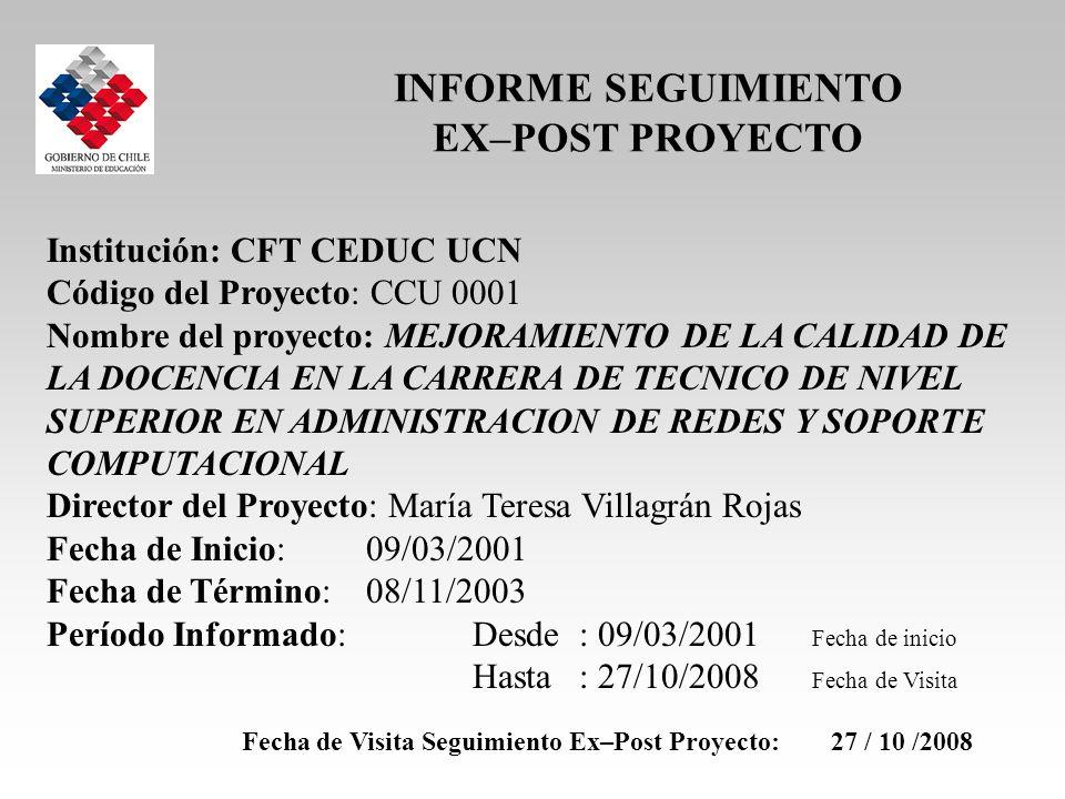 Institución: CFT CEDUC UCN Código del Proyecto: CCU 0001 Nombre del proyecto: MEJORAMIENTO DE LA CALIDAD DE LA DOCENCIA EN LA CARRERA DE TECNICO DE NI