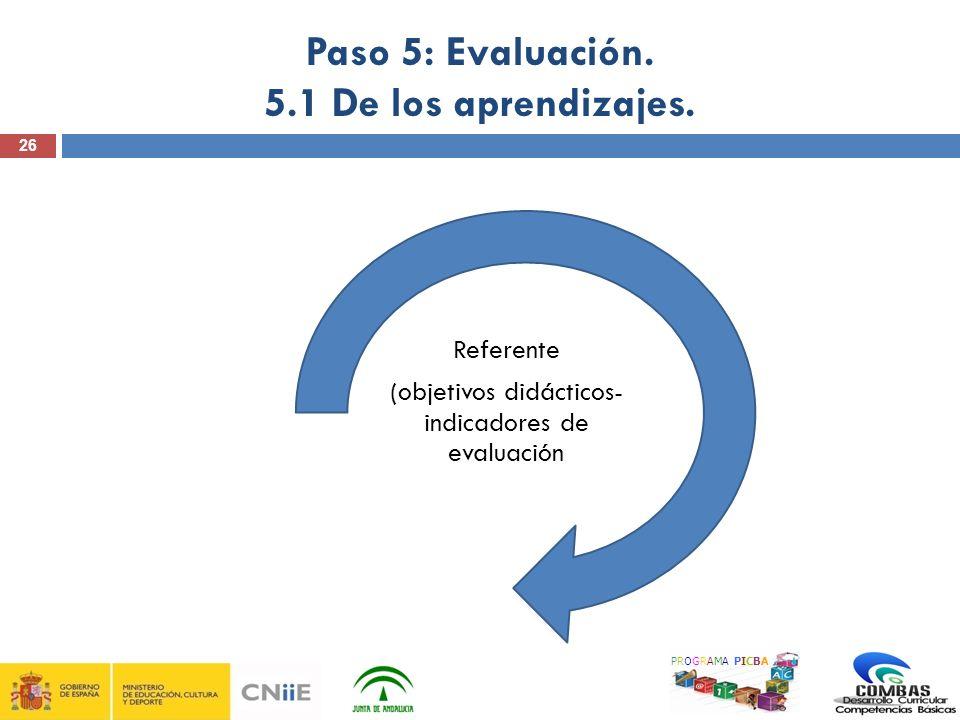 26 Paso 5: Evaluación. 5.1 De los aprendizajes. PROGRAMA PICBA Referente (objetivos didácticos- indicadores de evaluación