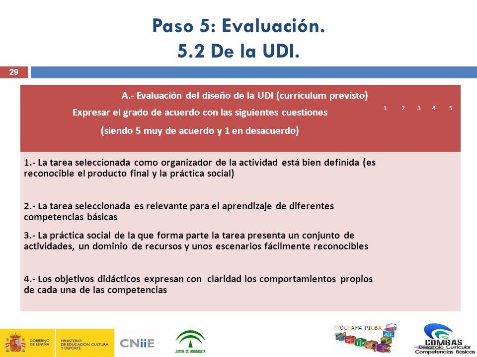 29 PROGRAMA PICBA Paso 5: Evaluación. 5.2 De la UDI. A.- Evaluación del diseño de la UDI (curriculum previsto) Expresar el grado de acuerdo con las si
