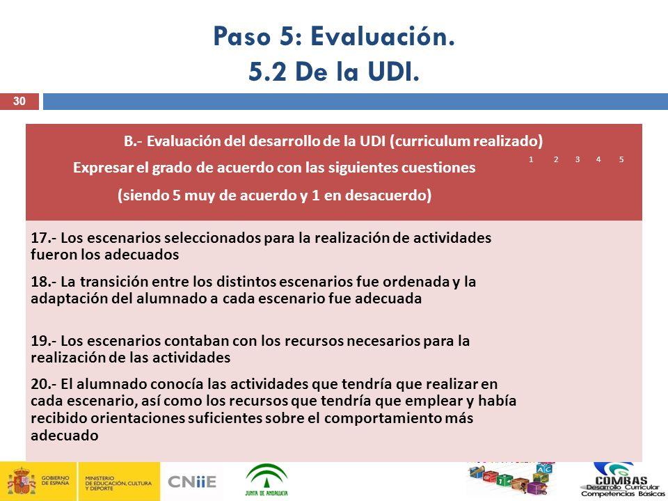 30 PROGRAMA PICBA B.- Evaluación del desarrollo de la UDI (curriculum realizado) Expresar el grado de acuerdo con las siguientes cuestiones (siendo 5