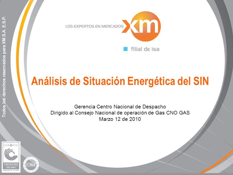 Análisis de Situación Energética del SIN Gerencia Centro Nacional de Despacho Dirigido al Consejo Nacional de operación de Gas CNO GAS Marzo 12 de 2010