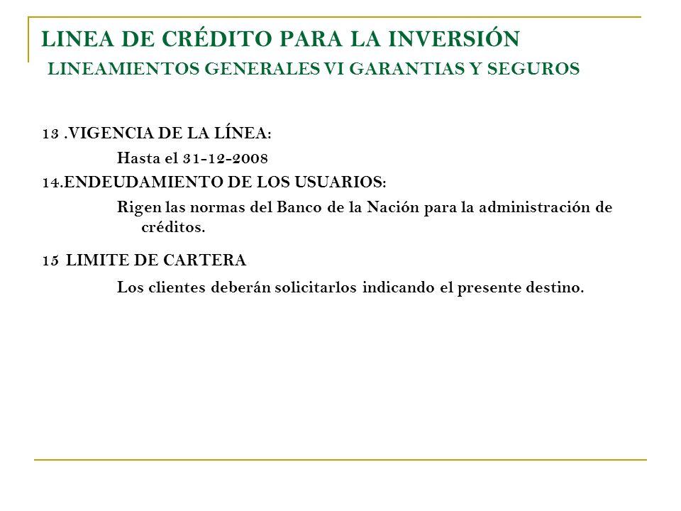 LINEA DE CRÉDITO PARA LA INVERSIÓN LINEAMIENTOS GENERALES VI GARANTIAS Y SEGUROS 13.VIGENCIA DE LA LÍNEA: Hasta el 31-12-2008 14.ENDEUDAMIENTO DE LOS